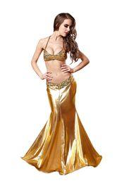 Wholesale Dos piezas de sirena de cuero de oro Sexy Sequins vestidos de fiesta de las mujeres de Halloween Mermaid cosplay trajes de sirena Tops Maxi vestidos piso de longitud