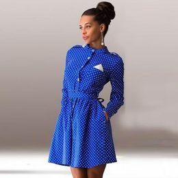 Wholesale 2016 camisa para mujer Manera de la caída del lunar de una línea Winter Party iguala mini vestido ocasional de las mujeres de manga larga vestido más del tamaño