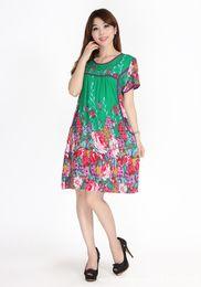 Wholesale Women Nightgown Artificial Cotton Sleepwear Summer Short sleeve One piece Dress Lounge Sleepshirts Flowers Pattern Lingerie