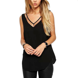 Wholesale Hot Selling Sexy Summer New Women T Shirt V Neck Vest Tops Casual Chiffon Camisole Sexy Tank Top