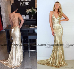 Wholesale 2017 Vestidos Cocktail Dresses lindo Mermaid longo Sparkly do partido Rose Gold baratos Evening Spaghetti Backless brilhante lantejoulas Fishtail partido