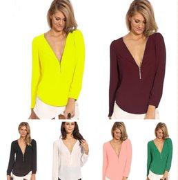 Wholesale 2016 Fashion Sexy Women Chiffon blouse female Zipper casual shirt women long sleeve tops V Neck tshirts S XXL