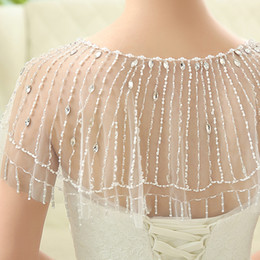 Wholesale 2016 Fabulous Bridal Cape Jewelry Cap Sleeves With Pearls Crystal Bridal Beading Accessories Wedding Dresses Wraps Shawls Bolero Shrug Shawl
