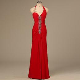Wholesale Vermelho elegante sexy longas senhoras smoking formal halter branco strass bainha vestido de noite vestido de festa noiva celebridade vestidos QW709