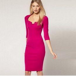 Wholesale Career Apparel dress Women Half Sleeve Square Neck Business dresses Party Vestidos Pencil Sheath Dress DT106