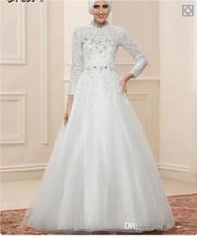 Wholesale Precioso vestidos de novia musulmanes de encaje de cuello alto Dubai vestidos de novia de manga larga vestido de novia de cristal islámico para Oriente Medio