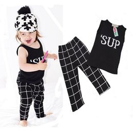Wholesale 2016 INS Baby Girl Clothes Sets Baby Cotton Summer Piece Baby Boys Summer Clothing Set Tank Tops Pants Baby Sets KB322