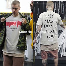 Wholesale 2016 summer tops justin bieber fear of god Purpose Tour MY MAMA DONT LIKE YOU BIEBER men s t shirt hiphop fashion oversized tee