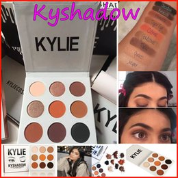 Em estoque! Kylie Eyeshadow cosméticos Jenner Kyshadow pressionado pó sombra de olho Kit Palette Bronze kylie jenner Maquiagem cosmética 9 cores DHL
