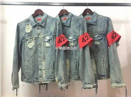 Wholesale KMO punk brand clothing kanye west hip hop korean distressed denim jean jacket men clothes coat women S XL cool jackets