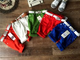 Wholesale New Korean summer Candy Boys Shorts Children Shorts kids hole pants Baby casual pants Baby Boy Clothing boy s wear color LH20