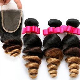 Discount ombre weaves closure Honey Blonde Ombre Indian Loose Wave Hair Extensions #1B 4 27 3 Tone Ombre Hair Bundles With Lace Closure Free Part 4Pcs lot