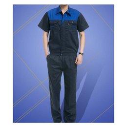Wholesale Summer Work Uniform Clothes Short Sleeve Vehicle Repair Suit Unisex Superior Fabric Anti dust Five Size Blue Shoulder and Navy Body