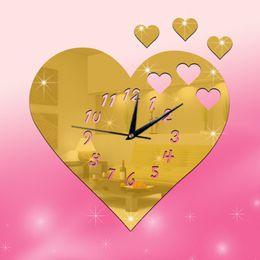 2016 New 3d Diy Mirror Wall Clock Love Vintage Wall Watch Art Decor Items Children S Room Wall Clocks Best Gifts
