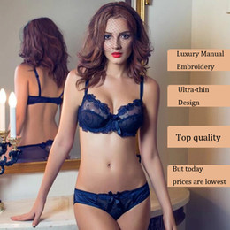 Wholesale Upscale Luxury Embroidery Underwear sets Ultra thin lace Bra Comfort Strap Bra Sexy Underwear sets Ladies Bra Women s Lace women s panties