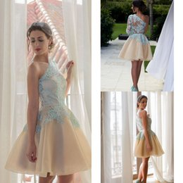 Wholesale 2016 Champagne Homecoming Dresses Ice Blue One Shoulder Illusion Lace Appliques Short Prom Gowns Mini Half Sleeves Cocktail Party Dress