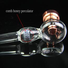 Tubo de tabaco multi-propósito de múltiples funciones del tazón de fuente del metal de la quemadura de la llegada con el perc del panal más sano quemador del vidrio quemador Tubos que fuman del vidrio claro