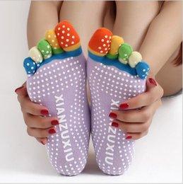 женщины Резина Йога Центр танцевального спорта Упражнение Non скольжения Массаж Фитнес теплые носки 5 носки ног
