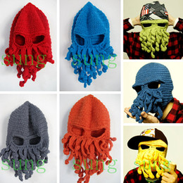 online shopping New arrival Handmade Funny Animal Cthulu Beards Octopus Hats caps Crocheted Tentacle Beanies Men s Women s Unisex Halloween Birthday Gifts
