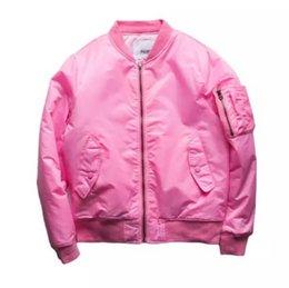 Wholesale Chaqueta para hombre de color rosa piloto bombardero chaquetas estilo militar Nueva Sider bolsillo de moda de vuelo Marca chaquetas envío gratuito