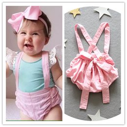 Wholesale 2016 ins hot girl summer cotton clothing toddler girl pink big bowknot suspender pants baby girl ins overalls