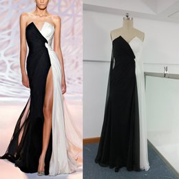 Wholesale 2016 Zuhair Murad High Split Sheath Evening Dresses Real Images Strapless Sexy White Black Floor Length Chiffon Formal Gowns