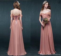 Wholesale Summer Off Shoulder Peach Coral Bridesmaid Dresses Ruched Long Floor Length Blush Bridesmaids Gowns Corset Chiffon Wedding Party Dress