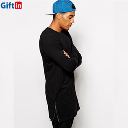 Wholesale,2016 Extended Length Long Sleeve Men Sweatshirt Solid Zipper Side Style Homme Swag High Street Hip Hop Outfit Plus Size swag outfits for sale
