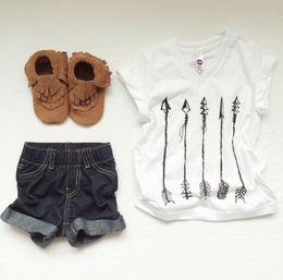 Wholesale 2016 INS baby girl boy toddler kids Summer clothes Arrow V neck T shirt Shirt tops blouse Vest Cotton Cool Cute pajamas