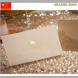 Mariage Hot vente Laser Cut Gold Heart Invitations creux Carte Invitations Pour Supply Parti Impression gratuit