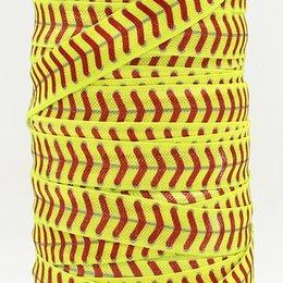Ruban gros / OEM 5 / 8inch 15mm 1604117001 conception de softball jaune plié sur FOE élastique pour cravate de cheveux Livraison gratuite