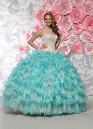 Wholesale Barato Vestidos De Anos rebordeado amor del Aqua vestido de Quinceanera Vestidos vestidos de debutantes Sweet Vestidos