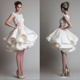 Wholesale 2016 Cheap Krikor Jabotian Short Homecoming Dresses Illusion Lace Appliques Sheer Back Tiered Ruffles D Floral Cocktail Party Prom Gowns