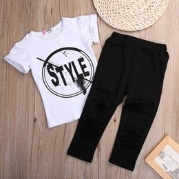 Wholesale New Fashion Kids Girls Clothes Set Little Girl Summer Short Sleeve T Shirt and Hole Pant Leggings Outfit Children Set