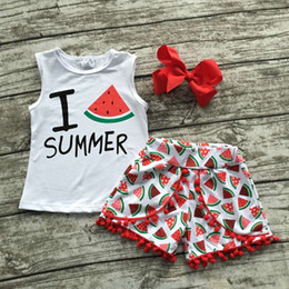 Wholesale 2016 hot sale Summer baby child girls outfits quot i love summer quot shorts white red watermelon boutique clothes kids matching bow