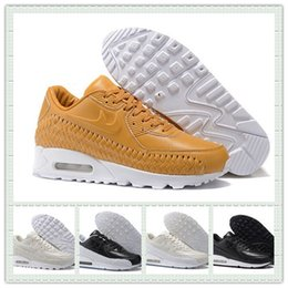 2017 shoes run air max High Quality Knit Men Women Air Jogging Shoes Max Woven 90 Running Shoes Maxes Sports Trainer Sneakers With Box Size US5.5--12