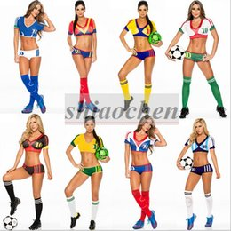 Wholesale Women World European Cup Football Cheerleading Costumes Set Cosplay Stage Show Sexy Clothing Athletic Nightclub Dancer Costumes New B285