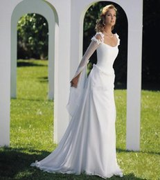 Wholesale 2016 Vintage Beach Wedding Dresses Long Sleeves Scoop Sweep Train Backless Appliques Lace Chiffon Celtic Bridal Gowns For Garden