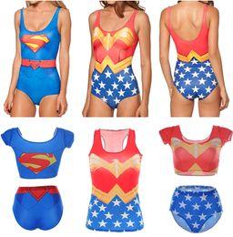 Wholesale WONDER WOMAN Swimwear SUPERMAN Swimsuit Sexy Hero Two Piece Bikinis Super MAN Swim Suit Bathing Wear D Print Vest Red Blue Women LNSst
