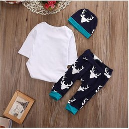 Wholesale Retail Baby Boys Sets coton Outlet Suit Sets Romper Pants Hat Christmas Giraffe Ensemble bébé Bébé Vêtements Newborn Kids Wear
