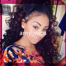 Discount ombre human hair wave Natural Hairline Lace Front & Full Lace Human Hair Wigs Brazilian Virgin Deep Wave Hair Wig Natural Color With Baby Hair