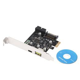 Новая PCI-E 1x Экспресс USB 3.1 Type C двухпортовый адаптер для платы расширения для компьютера ПК + CD с драйверами Оптовая