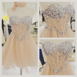 Wholesale Crystals Sweetheart Neckline Short Homecoming Dresses Formal Party Tulle Beaded Boned Sleeveless Short A line Zipper Cocktail Dress Gowns