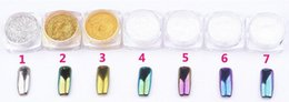 Wholesale 2016 Newest Colorful Nail Glitter Powder Shinning Mirror Effect Nail Makeup Powder Nail Art DIY Chrome Pigment Glitters With Two Brushes