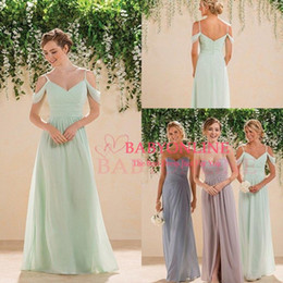 Wholesale 2016 Sage Lime Green Off Shoulders Chiffon Bridesmaid Dresses V neck Ruched Backless Long Courty Style Cheap Boho Maid of the Honor Dresses