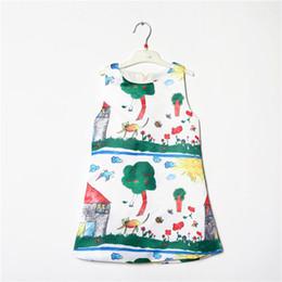 Wholesale vestido de los niños del vestido de partido del algodón europeo princesa del chaleco del estilo del vestido de impresión diseño de la muchacha garabato una línea de Verano