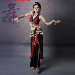 Wholesale Tribal Belly Dance Clothing piece Costume Set Women Plus Size Tops Halter Lace Hip Scarf and Tribal Pants Belly Dance