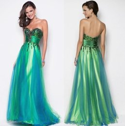 Wholesale sexy New Sexy Sweetheart Sequin Bodice Green Peacock Blue Tulle Pageant Gown Evening Party Dress Formal Floor length Blush Prom a135