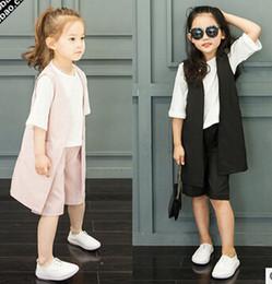 Wholesale 2016 New Kids Summer New Arrival Lace Set Children Clothing T Shirt Tops Vest Pant Set Girl pullover Set C8159