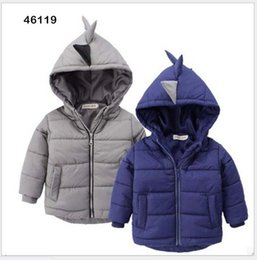 Wholesale 2016 Mode Garçon Dinosaur Modeling manteau chaud pour les enfants Épaissir coton Outwear hiver d enfants de style coréen Coats Boy Hooded Down Jacket Coat